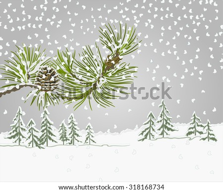 Winter landscape pine branch with snow and pine cone christmas theme vector illustration - stock vector