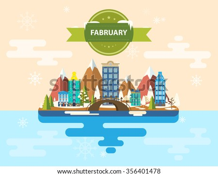 Winter landscape. Small town. Set of urban buildings. Calendar. Month of February. Infographics. Flat design. Mountains, urban, nature, buildings, city. Stock. Image. Illustration. Vector. - stock vector