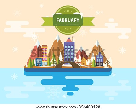 Winter landscape. Small town. Set of urban buildings. City. Calendar. Month of February. Infographics. Flat design. Stock. Image. Illustration. Vector. - stock vector