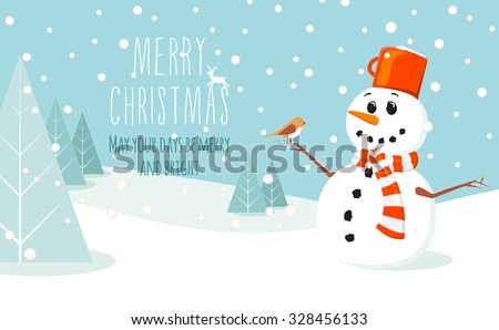 Winter landscape with a snowman with a scarf and bird sitting on his hand in flat design in vector