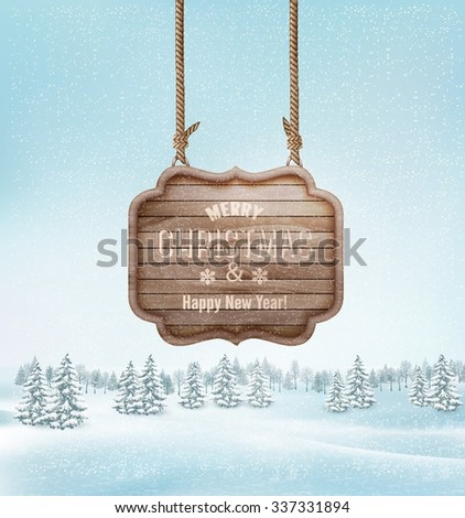 Winter landscape with a wooden ornate Merry christmas sign. Vector. - stock vector