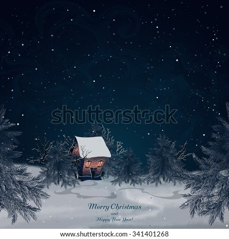 Winter landscape with brick house in the forest. Light in the windows. Snow-covered trees and spruces. Night scenery. Night sky and snow. Christmas background. Vector, EPS 10 - stock vector
