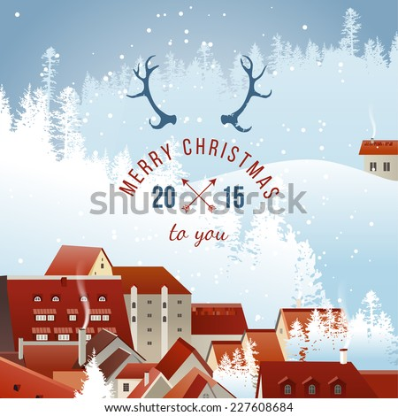 Winter landscape with Christmas type design - stock vector