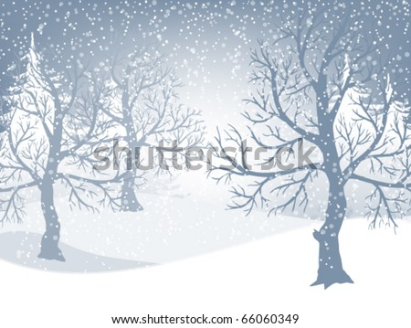 winter landscape with falling snow - stock vector