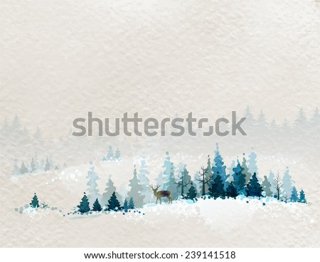 winter landscape with fir forests and deer - stock vector