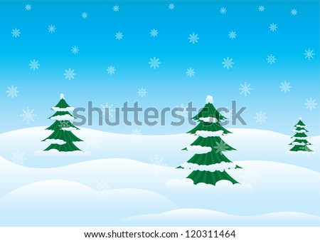 Winter landscape with fir trees and snowdrifts - stock vector
