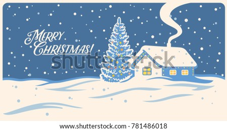 Winter landscape with house and festive Christmas trees.