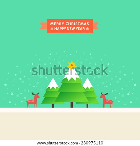 Winter Landscape Happy New Year Merry Stock Vector