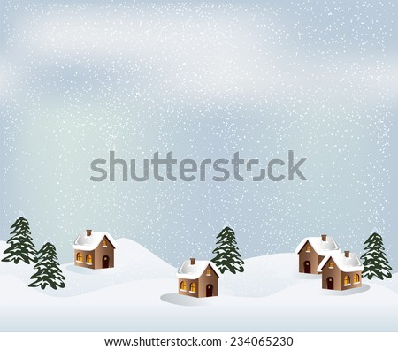 Winter Landscape  with house, snow landscape and Christmas trees. Vector