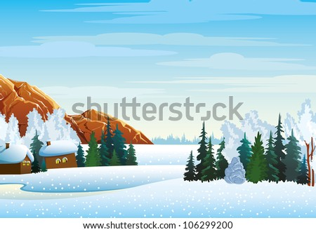Winter landscape with houses, forest and mountains on a blue cloudy sky - stock vector