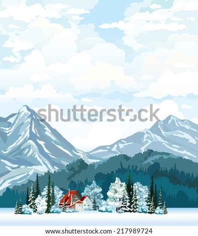 Winter landscape with hut, frozen forest and mountains on a cloudy sky. Natural vector. - stock vector
