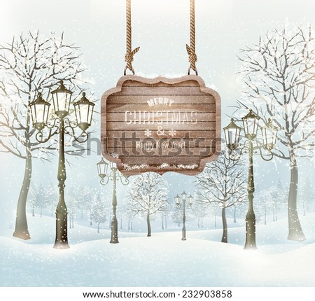 Winter landscape with lampposts and a wooden ornate Merry christmas sign. Vector. - stock vector