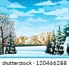Winter landscape with mountains, frozen trees and snowfall - stock vector