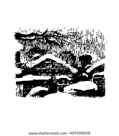 Winter landscape with old houses and trees under snow. The graphics is contrast. Black-and-white engraving.