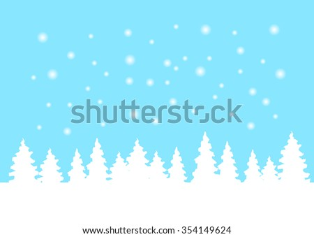 Winter landscape with pine tree and snowfall on blue sky background, vector illustration - stock vector