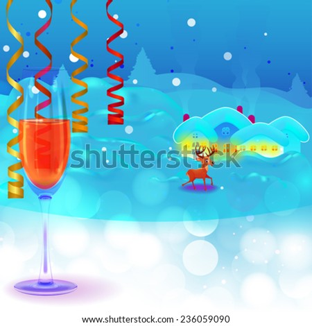 Winter landscape with reindeer in New Years eve - stock vector