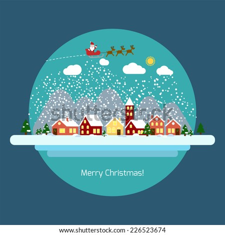 Winter landscape with small village, Christmas tree and flying sleigh with reindeer and Santa. Phrase of congratulations for the new year Vector illustration in flat design style. EPS 10 - stock vector