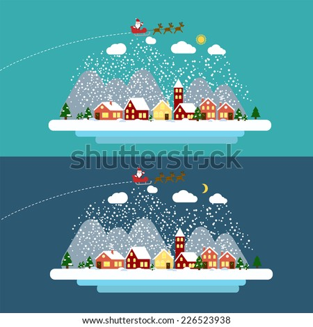 Winter landscape with small village, Christmas tree and flying sleigh with reindeer and Santa. Vector illustration in flat design style. EPS 10 - stock vector