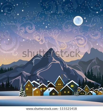 Winter landscape with snow houses, mountains and blue full moon