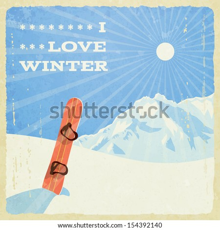 Winter landscape with snowboard, vector illustration, eps10. - stock vector