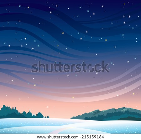 Winter landscape with starry night sky and snowdrifts. Natural vector illustration.