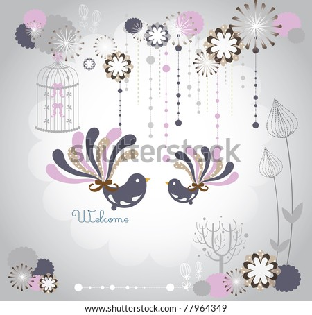 winter lovely bird in love - stock vector