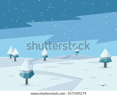 Winter low poly background with road and polygonal firs trees. Landscape season, frost outdoor snowfall, vector illustration - stock vector