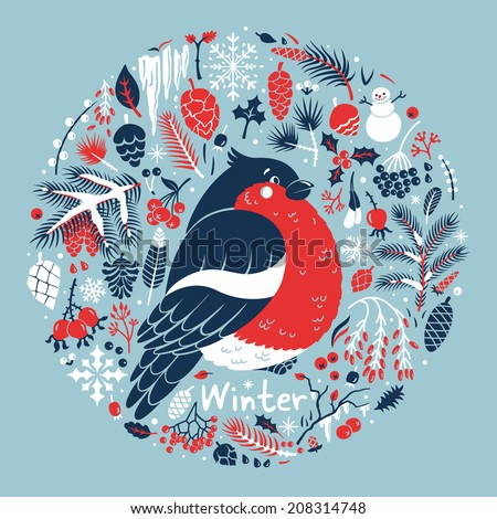 Winter medallion with a cute bullfinch among the snow, cones, berries, pine branches. Vector card. - stock vector