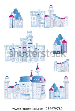 Winter medieval castles design vector elements - stock vector