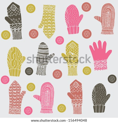 Winter mittens and gloves - stock vector