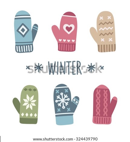 Winter mittens set in soft vintage colors. Vector illustration. - stock vector