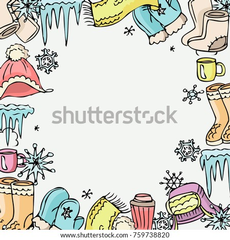 Winter Mood Background Vector Winter Clothes Stock Vector (2018 ...