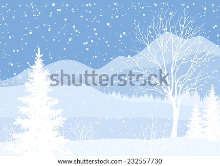 Winter mountain Christmas landscape with fir trees and snow, white and blue silhouettes. Vector