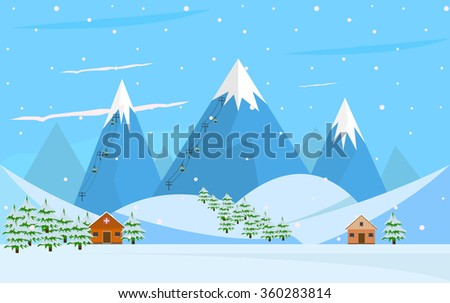 Winter mountain forest landscape - stock vector