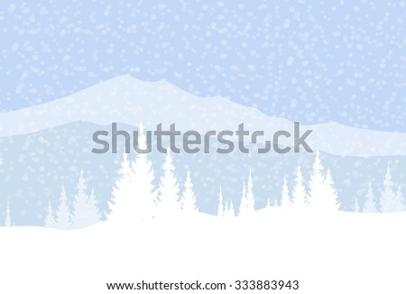 Winter Mountain Landscape  & Snow Fall