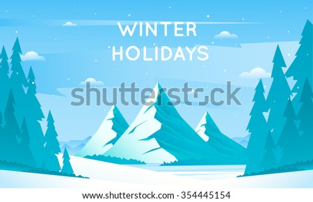 Winter mountain landscape, vacation in the mountains in nature. Flat design vector illustration.  - stock vector