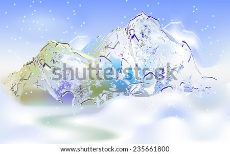 Winter mountain landscape with falling snow - stock vector