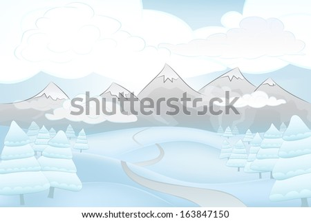 winter mountains in clouds with road and spruce trees around vector illustration