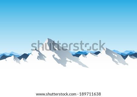 Winter mountains wallpaper - stock vector