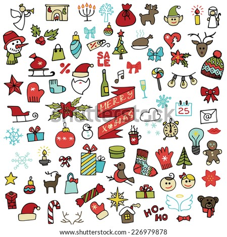 Winter,New year, Christmas colored  icons set .Many different decorative elements for winter holidays for design. Trendy flat style.Doodle sketch in  style of  child's hand drawing. Vector - stock vector
