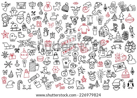 Winter,New year, Christmas outline icons Big set.Many different decorative elements for winter holidays for design. Trendy flat style.Doodle sketch in  style of  child's hand drawing. Vector - stock vector