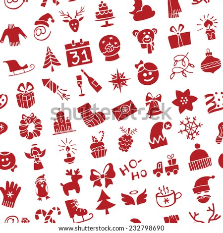 Winter,New year, Christmas Vector.Silhouette icons  set in  seamless pattern for winter holidays . Trendy flat style.Doodles sketch style.For Backdrop,background,fabric,Wallpaper.