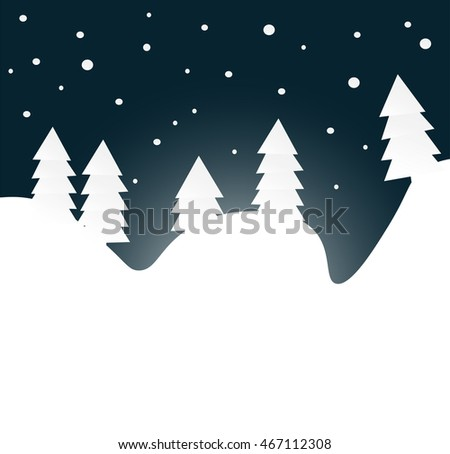 Winter night forest with snow flakes, flat vector illustration