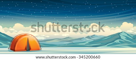 Winter night illustration - orange travel tent and frozen mountains on a starry sky background. Nature vector landscape. Extreme camping. - stock vector