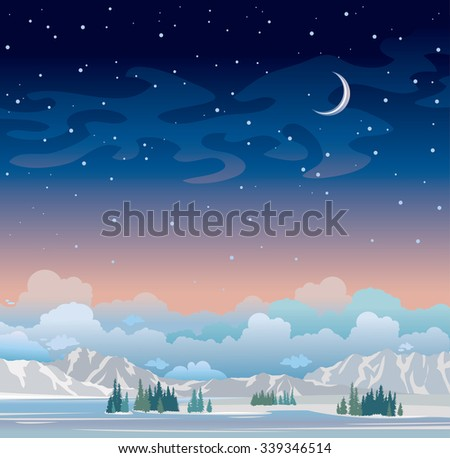 Winter night landscape. Blue starry sky with moon and green forest with mountains. Nature vector illustration.