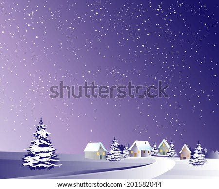 Winter night village - stock vector