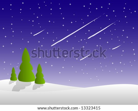 winter night with falling stars in the sky