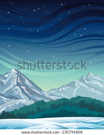 Winter night with frozen mountains, green forest and starry sky. Nature vector landscape.