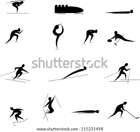 winter Olympic games icon set - stock vector