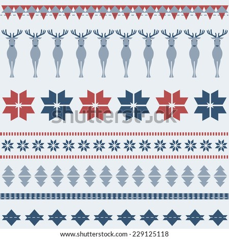 Winter ornamental pattern with deer - stock vector